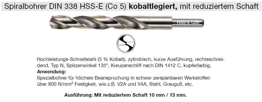 TIN Bohrer Tasche SB DIN 338 N HSS Schaft 13 mm 1 Spiralbohrer 19,0 mm