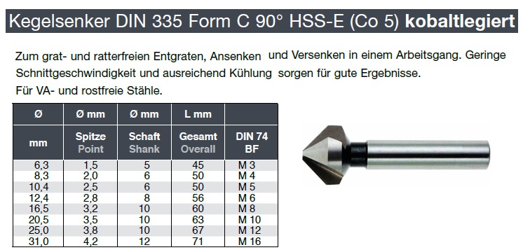 ORION Kegelsenker HSS 16,0 mm 120/° zyl.