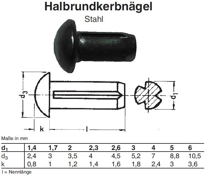 100 x CAB FASTENING Halbrundkerbnägel mit Fase ISO 8746 1.4303 2,5 x 6 rostfrei