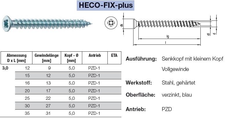 HECO-FIX-plus Universalschraube blau verzinkt Vollgewinde Rundkopf TX-Antrieb
