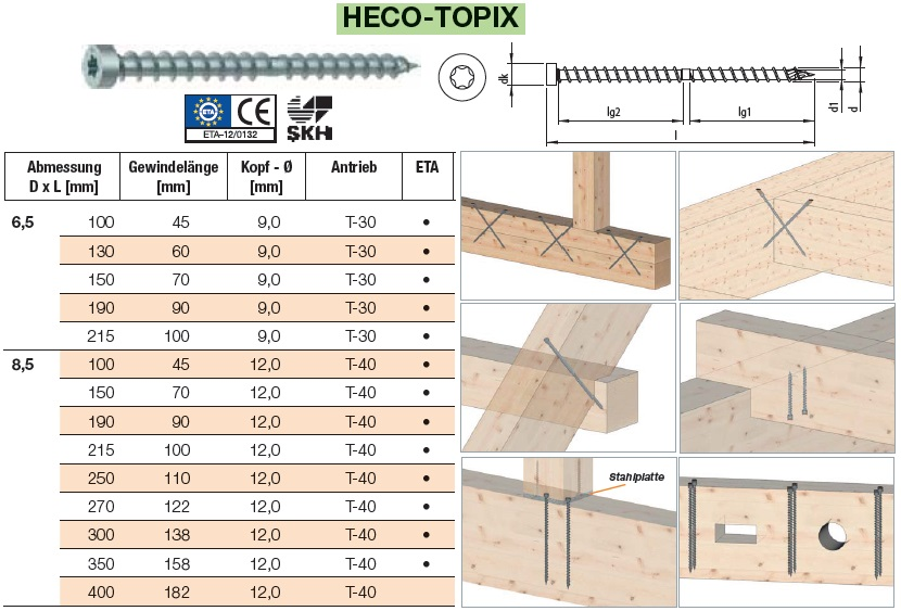 10 St 8,5x100 mm Heco Topix CC Holzbauschrauben Holzschrauben Zylinderkopf