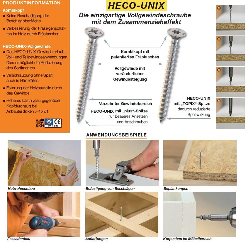 BIT Vollgewindeschraube Zusammenzieheffekt HECO Dielenschrauben HECO-UNIX TOP
