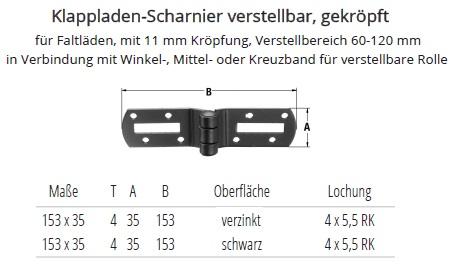 Top Klappladen-Scharnier verstellbar, gekröpft, verzinkt oder schwarz YY84