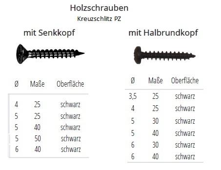 Schwarze Spanplattenschrauben Senkkopf Edelstahl SCHWARZ TORX versandkostenfrei