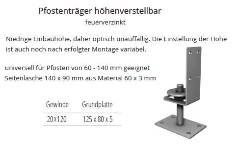 Pfostentrager Hohenverstellbar Universell Fur Pfosten Von 60 140mm