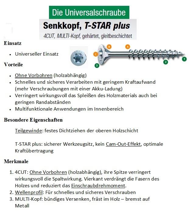 SPAX Universalschraube WIROX 4CUT Teilgewinde Senkkopf Kreuzschlitz Z