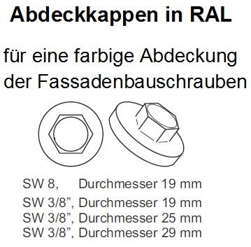200 Abdeckkappen f/ür Fassadenbauschrauben mit 16mm EPDM RAL 7016 anthrazitgrau