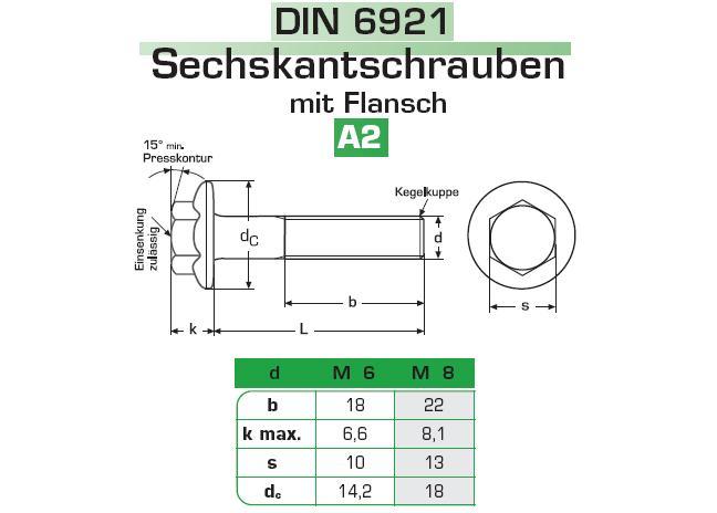 Sechskantschrauben mit Flansch und Sperrverzahnung DIN 6921 Edelstahl VA A2