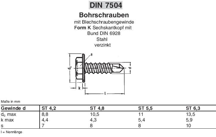 4,2x22 Bohrschrauben Sechskantkopf DIN 7504 K verz 100 St.