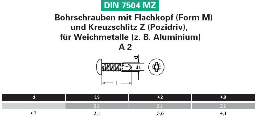 200 Bohrschrauben Edelstahl V2a 4,2x19mm Blechschrauben A2  mit Linsenkopf MZ