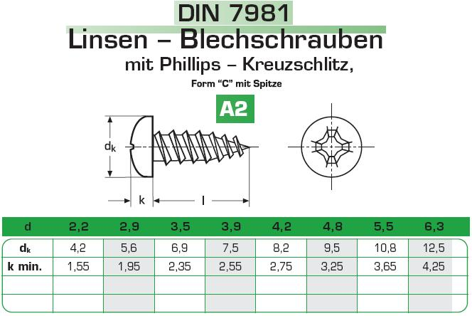 200 Stück Blechschrauben Linsenkopf DIN 7981-C-H A2 Kreuzschlitz PH 4,2x 60