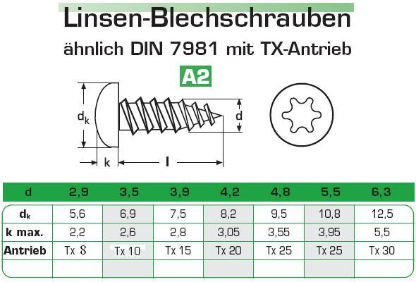 50 St/ück 4,2 x 60 mm Blechschrauben DIN 7981 ISO 14585 TORX Edelstahl A2 VA V2A Linsenkopf