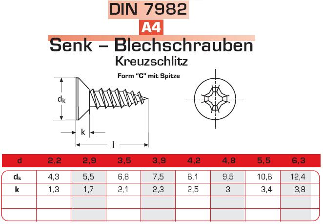 Blechschrauben Senkkopf Kreuzschlitz DIN 7982 100 St/ück 2,2 x 9,5 mm