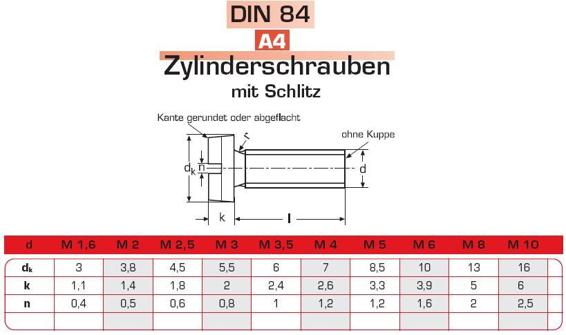 10 DIN 84 Schrauben Edelstahl M1,0 M1,2 M1,4 M1,6 M2 M2,5 M3 M3,5 M4 M5 M6