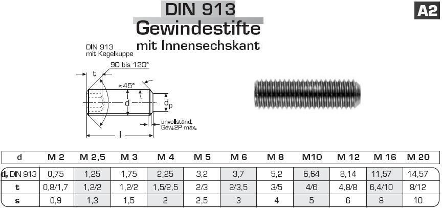 M8x35 Gewindestifte Innensechskant Kegelkuppe Madenschrauben Edelstahl A2 DIN 913 x50