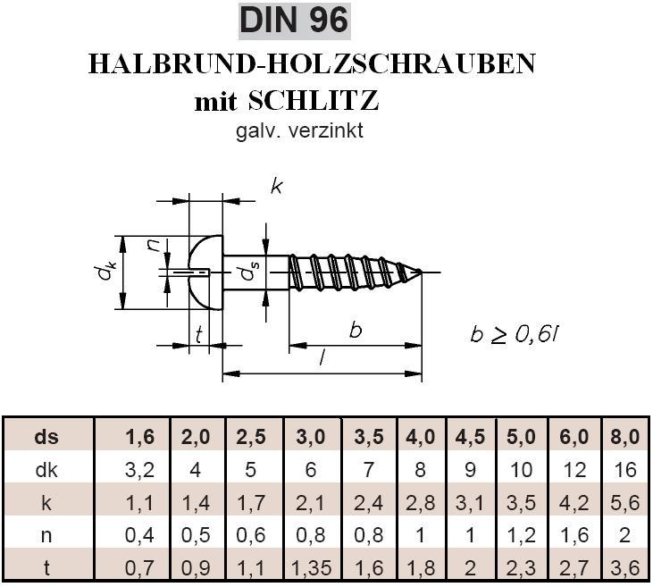 10 St/ück 3,5x16mm Schraube DIN96