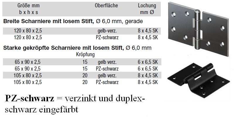 klappladen scharniere mit losem stift pz schwarz oder. Black Bedroom Furniture Sets. Home Design Ideas