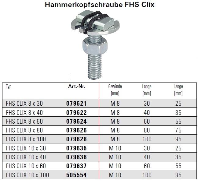 Fischer Hammerkopfschraube FHS Clix 79626 8 x 80