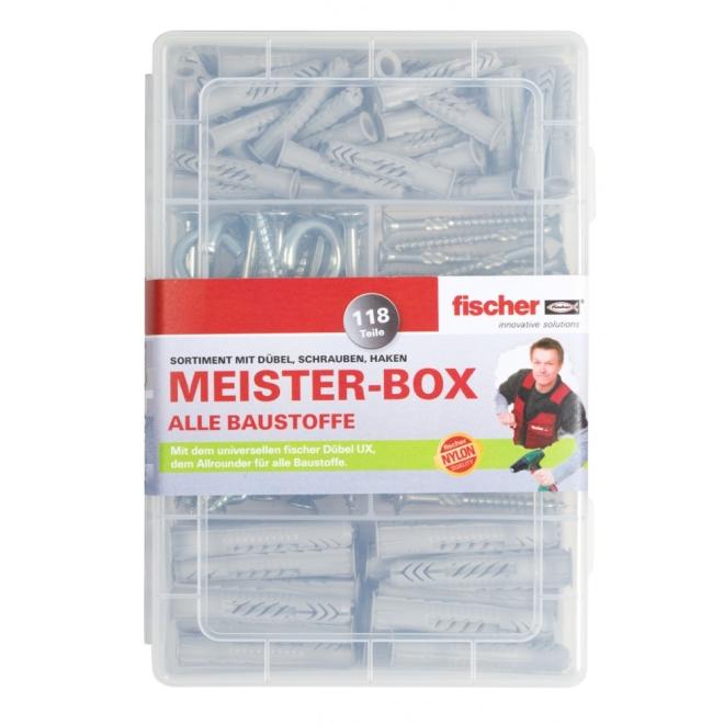 fischer Meister-Box Dübelsortiment UX mit Schrauben und Haken 118-teilig